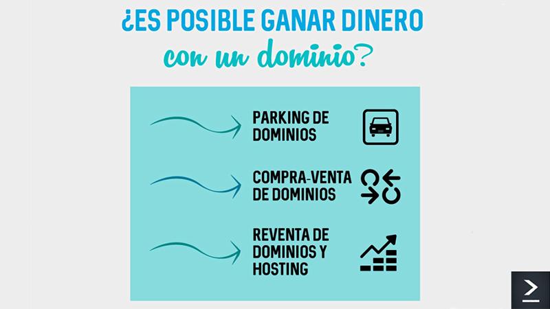 Con un dominio podemos ganar dinero de las siguientes maneras: Parking de dominios, compra-venta de dominios, reventa de dominios y hosting.